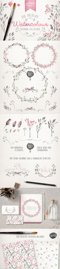 The Essential, Creative Design Arsenal (1000s of Best-Selling Resources) Just $29 - Watercolour Wedding Collection Vol 1