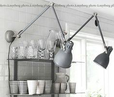 wall mount desk lamps above desk Bistro Kitchen, Kitchen Decor, Diy Interior, Interior Decorating, Interior Design, Ikea Wall, Work Lamp, Wall Mounted Light, Cool Lamps