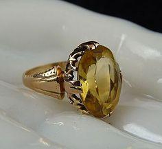 Gorgeous Art Deco 14K Citrine Ring