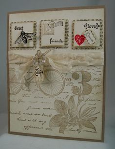 Postage Due, Nature Walk, Lovely Little Labels, Tiny Tags - inchies Cute Cards, Diy Cards, Stampin Up Karten, Bicycle Cards, Friendship Cards, Beautiful Handmade Cards, Stamping Up Cards, Masculine Cards, Card Tags