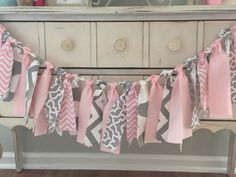 Elephant baby shower banner colors Pink and Gray Baby by LoveSews