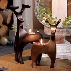 Endearing Reindeer Tealight Holder Pair #candles #partylite