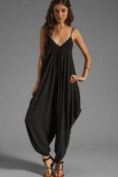 7ca4eaaadb06 Black Spaghetti Straps Deep V Harem Jumpsuit US  6.9 Get comfy in this  comfortable harem