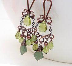 Wire wrap jewelry, handmade green garnet peridot earrings, copper earrings, olive green chandelier earrings, peridot jewelry, copper jewelry. $75.00, via Etsy.