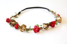 etsy: @ulous. red and gold rose #crown.
