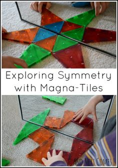 Simple mirror play for kids: exploring symmetry with Magna-Tiles from And Next Comes L