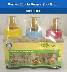 Gerber Little Suzy's Zoo Nurser with Rubber Nipple Baby Bottles - 3 pack. Brand:NEW.Model:Fashion Tints.Country of Manufacture:United States.3 Pack. Unopened, New in Packaging, 3 Pack of Gerber Little Suzy's Zoo Nurser Baby Bottles Assorted Colors: Pink , Blue, Yellow Tops *Note characters printed on bottles are random* Features:Bottles made in USA, Nipples made in Brazil.