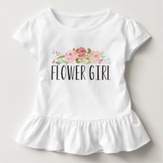 Flower Girl Toddler Tee | Bridesmaid - Get the whole collection for the bridal party. Available in Bridesmaid, Jr. Bridesmaid, Maid of Honor, Flower Girl & of course, the Bride! This Bride shirt features lovely watercolored flowers and a mix of modern typography.