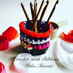 Upcycle Ribbons into this beautiful Holder Free Tutorial By AnnooCrochet Designs