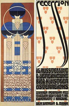 Secession poster design (colour lithographs) featured at the Vienna Art & Design exhibition (NGV)