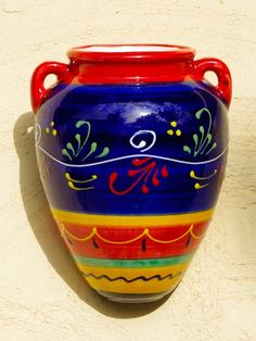 New range of Spanish 'Orza' ceramic wall pots hits the virtual shelves ~ hand painted garden ceramics with real character from southern Spain.