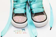 Infant, Toddler Baby Girl Hi-Top Gray Converse All Star Chuck Taylor's With Turquoise Ribbon Laces & Swarovski Rhinestones | Urban Baby Co.