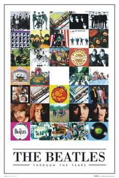 The Beatles Thru the Years classic rock music collage poster