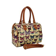 INT' L BEAUTE EX Natural Design Handbags Butterfly Printing Oilcloth Tote, BEIGE for Women