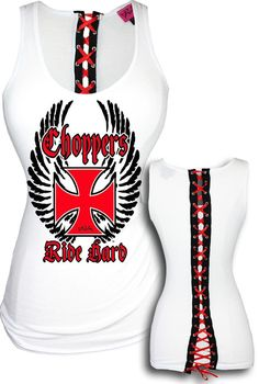 Choppers Ride Hard Beater Corset Tank-White by Demi Loon