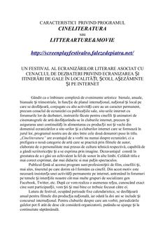 About FESTIVALUL ECRANIZĂRILOR LITERARE by Hopernicus via slideshare