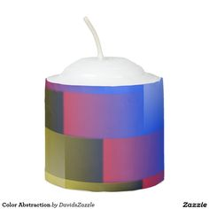 Color Abstraction Tea Candle  This design is available on many more products! Type the name of this design in the search bar on my Zazzle products page to see them all!  #art #abstract #geometric #color #square #line #blur #motion #digital #red #blue #yellow #black #white #green #orange #geometry #abstraction #nonobjective #print #all #over #buy #sale #forsale #zazzle #tea #candle #home #decor