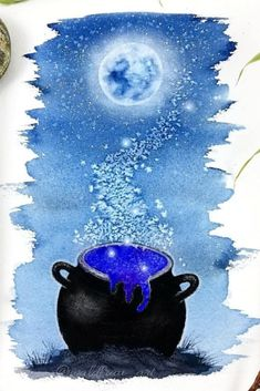 Watercolor illustration with salt effect Nature Illustrations, Watercolor Illustration, Salt, Celestial, Salts, Watercolour Illustration