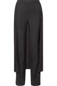 Adam Lippes - Layered Pleated Georgette And Crepe Wide-leg Pants - Black - US12