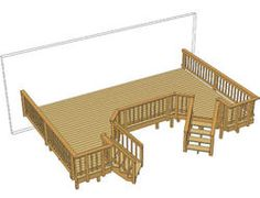 24' x 12' Deck w/ Two Angled Stairs