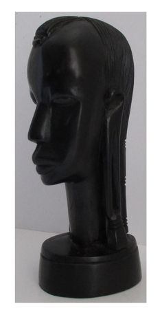 "8"" Tall Vintage African Ebony Wood Hand Carved Female Head Tribal Sculpture"