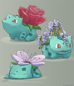 I love this! My favourite pokemon with cute flowers ahhh I want all of these species!!!