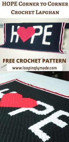 Free Crochet Pattern- Hope Corner to Corner Crochet Lapghan C2c Crochet, Crochet Hooks, Crochet Baby, Free Crochet, Crochet Afghans, Crochet Blankets, Chrochet, Hand Crochet, Crochet Patterns For Beginners