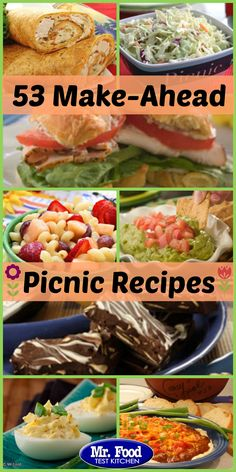 Perfect Picnic Menu: Make Ahead Picnic Recipes 53 Make-Ahead Picnic Recipes - Perfect for summer, these make-ahead picnic recipes have you covered for the season. From deli salads and sandwiches to desserts and drinks, this collection has 'em all! Beach Meals, Beach Picnic Foods, Healthy Picnic Foods, Summer Picnic Desserts, Picnic Finger Foods, Family Picnic Foods, Picnic Drinks, Summer Potluck, Beach Lunch