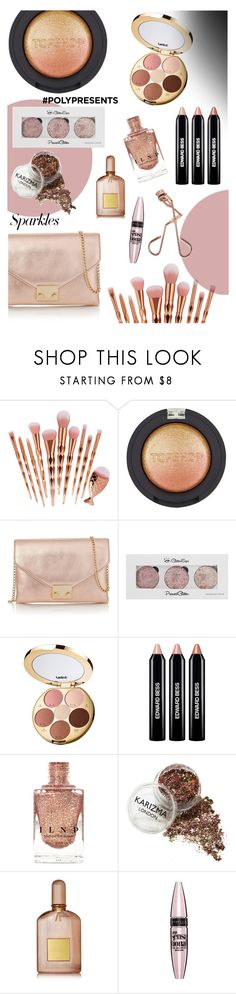 """""""#PolyPresents: Rose Gold"""" by beck-bows-and-ribbons ❤ liked on Polyvore featuring beauty, Topshop, Loeffler Randall, tarte, Edward Bess, Tom Ford, Maybelline, Tweezerman, contestentry and polyPresents"""