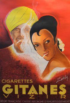L'affichiste - 1939 Original French Art Deco Poster, Gitanes Cigarettes Advertisement - Zarra