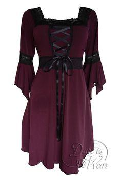 Dare To Wear Victorian Gothic Women's Plus Size Renaissance Corset Dress Burgundy