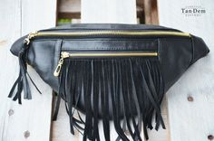 5f3cb73984c Handcrafted real leather fringe waist bag / bum by TanDemCustoms Bum Bags,  Second Hand Stores
