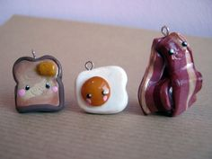 Cute Handmade Kawaii Polymer Clay Breakfast Food charms Toast, Fried egg & Bacon. $4.00, via Etsy.
