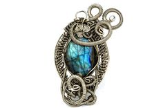 Wire Wrap Pendant with Labradorite stone  Steampunk by HyppieChic, $75.00