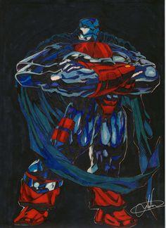 """""""A era do Apocalipse"""", saga lançada no ano de 1997 que fez uma reviravolta dos infernos no mundo dos mutantes! Aqui o vilão desenhado com muita caneta hidrocor! O pessoal da escola chamava de """"canetinha futura"""", eu nunca gostei desse nome, prefiro caneta hidrocor mesmo!"""