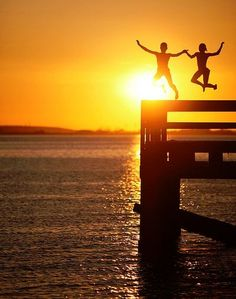 sunset pier jumping...oh yeah!
