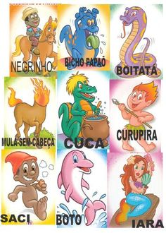 Personagens do Folclore Brasileiro Preschool Activities, Professor, Bowser, Crafts For Kids, Drawings, Instagram, Painting, Legends And Myths, Text Types