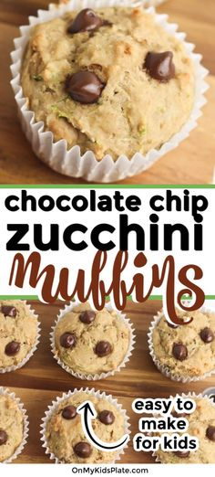 One Bowl Healthy Zucchini Chocolate Chip Muffins These easy zucchini muffins with chocolate chips is the best baking recipe to make when cooking wit Cupcake Recipes, Baking Recipes, Snack Recipes, Dessert Recipes, Oreo Desserts, Plated Desserts, Healthy Recipes, Zucchini Muffin Recipes, Healthy Zucchini