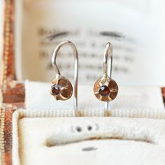 Your place to buy and sell all things handmade Garnet Earrings, Button Earrings, Silver Earrings, Drop Earrings, Old World Charm, Red Garnet, Georgian, The Ordinary, Bronze