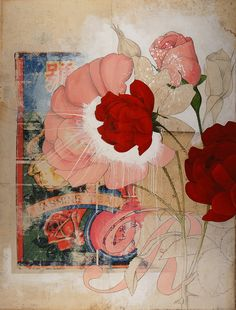 Rose | paint, mixed media, collage, resin on panel 48x36 | Michael | Flickr