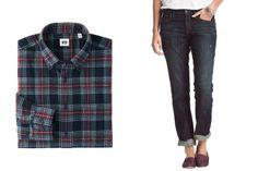 Uniqlo men's flannel checked long-sleeve shirt, $30, uniqlo.com; Loft slim boyfriend jeans, $80, loft.com