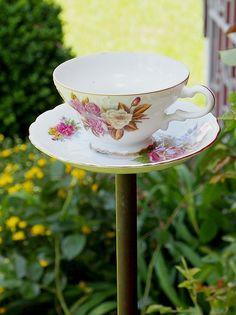 DIY teacup bird feeder. Easier to make than you think!