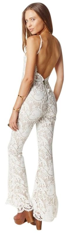Stone Cold Fox White Dylan Lace Romper/Jumpsuit. Free shipping and guaranteed authenticity on Stone Cold Fox White Dylan Lace Romper/Jumpsuit at Tradesy. Show off your vintage style with this rad lace jum...