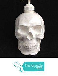 Skull Soap Dispenser in White Halloween Horror Pirate head Ceramic Bath Kitchen Decoration Goth Decore from SueSueSueCrafts https://www.amazon.com/dp/B01MR5FCCK/ref=hnd_sw_r_pi_dp_lfMWyb78N51C3 #handmadeatamazon