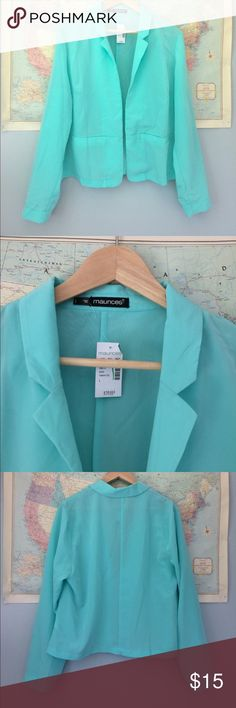 Plus Size Turquoise Blazer size 1 by Maurice's NWT Maurice's turquoise blazer, long sleeve. Size 1. Wonderful lightweight material. Maurices Jackets & Coats Blazers