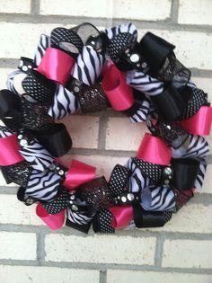Zebra print Christmas ribbon wreath wreaths zebra by ekieffer11, $30.00