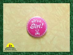 It's A Girl Vintage Pink Pinback Button With by KressHillVintage, $9.00