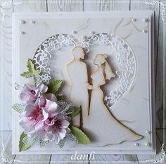 Wykorzystałam w niej ramkę wyciętą za pomocą… Homemade Wedding Cards, Wedding Day Cards, Wedding Cards Handmade, Wedding Anniversary Cards, Homemade Cards, Happy Anniversary, Envelopes Decorados, Happy Birthday Cards, Happy Birthdays