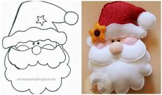 Manualidades diy en fieltro moldes e ideas Felt Christmas Ornaments, Noel Christmas, All Things Christmas, Father Christmas, Christmas Projects, Felt Crafts, Holiday Crafts, Holiday Decor, Felt Decorations