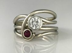The Eastern Sun Horizon Ring was created with Ruby and Moissanite in white gold. Radiant Engagement Rings, Sapphire Diamond Engagement, Pink Sapphire Ring, Anniversary Jewelry, Custom Jewelry Design, Vintage Diamond, Beautiful Rings, Ring Designs, Fashion Rings